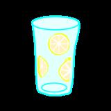 レモンをグラスの横に貼り付ける